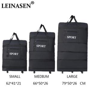 Image 1 - 2019 LEINASEN wholesale ultra light luggage travel bag large capacity universal wheels retractable folding tug box luggage bag