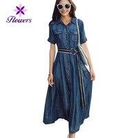 2018 Новое летнее платье Для женщин мода плюс Размеры свободные джинсовые пэчворк в полоску с коротким рукавом был тонкий Повседневное Длинн