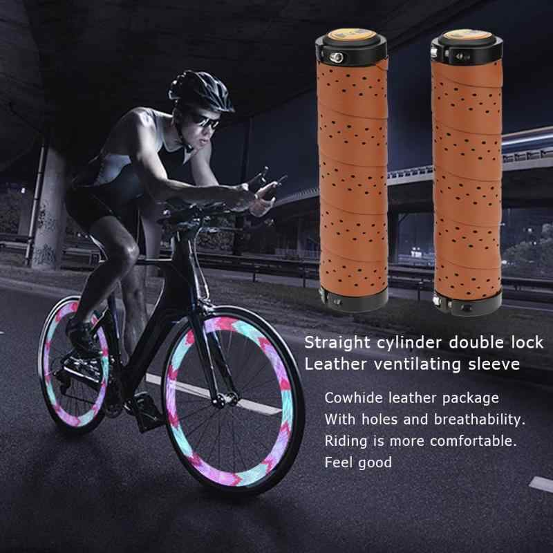 Leather Sewing Bicycle Grip Multi Use Mountain Bike Dual Locks Nonskid