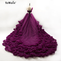 2016 Winter Royal Princess Gowns Cloud Long Tail Luxury Wedding Dress Wedding Dresses Plus Size Cathedral