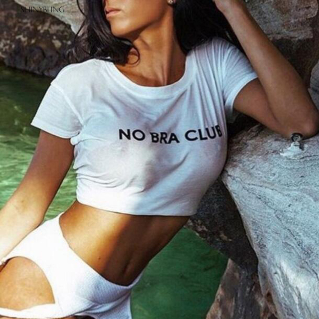 Shinybling 2018 Sexy Crop T Shirt Women No Bra Club -6828