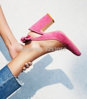 New Designer Pink Suede Women Pumps Chunky Heel Bowknot Dress Shoes Sweet Butterfly knot Thick Square Heel Wedding Shoes Pumps