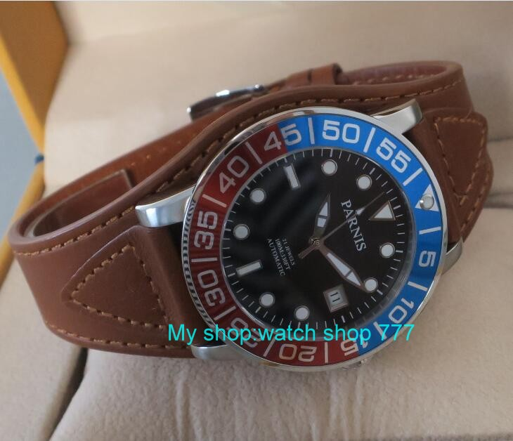 42MM <font><b>PARNIS</b></font> 21 jewels Japanese 821A automatic Self-Wind Mechanical watches Sapphire Crystal <font><b>10Bar</b></font> luminous men's watch 50sy image