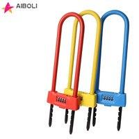 AIBOLI 4 Digital Password Door Lock U type anti theft Code padlock Glass Door Lock Password Lock for bicycle padlock
