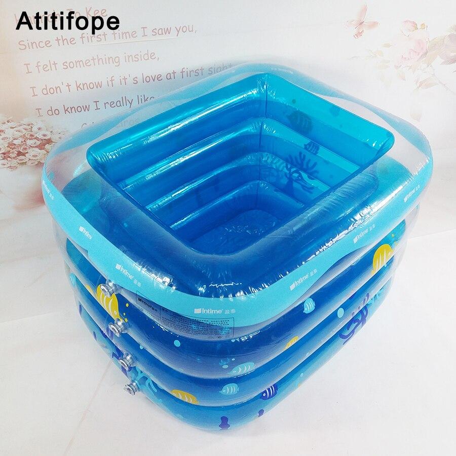 Motif bleu sous-marin matière plastique épaisse fond de bulle gonflable bébé piscine gonflable piscine bébé seau de bain