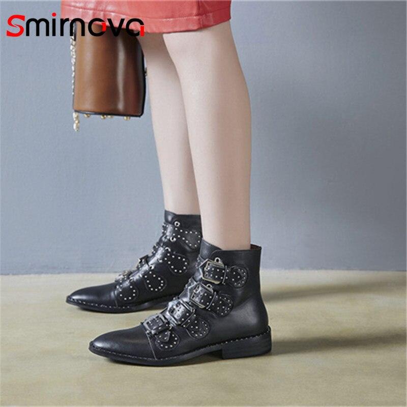 Épais Smirnova 2018 Dames Automne blanc Chaussures Talons En Hiver Casual Nouvelle Pour Femme Noir Bottes Cuir Véritable Cheville Boucle Arrivée rqZwxrFt