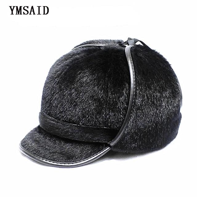 f21b965eed9 Ymsaid 2018 Winter Cap Men Warm Hat With Ear Flaps Men s Faux Fur Hat  Autumn Winter Hat For Men s Russian hat