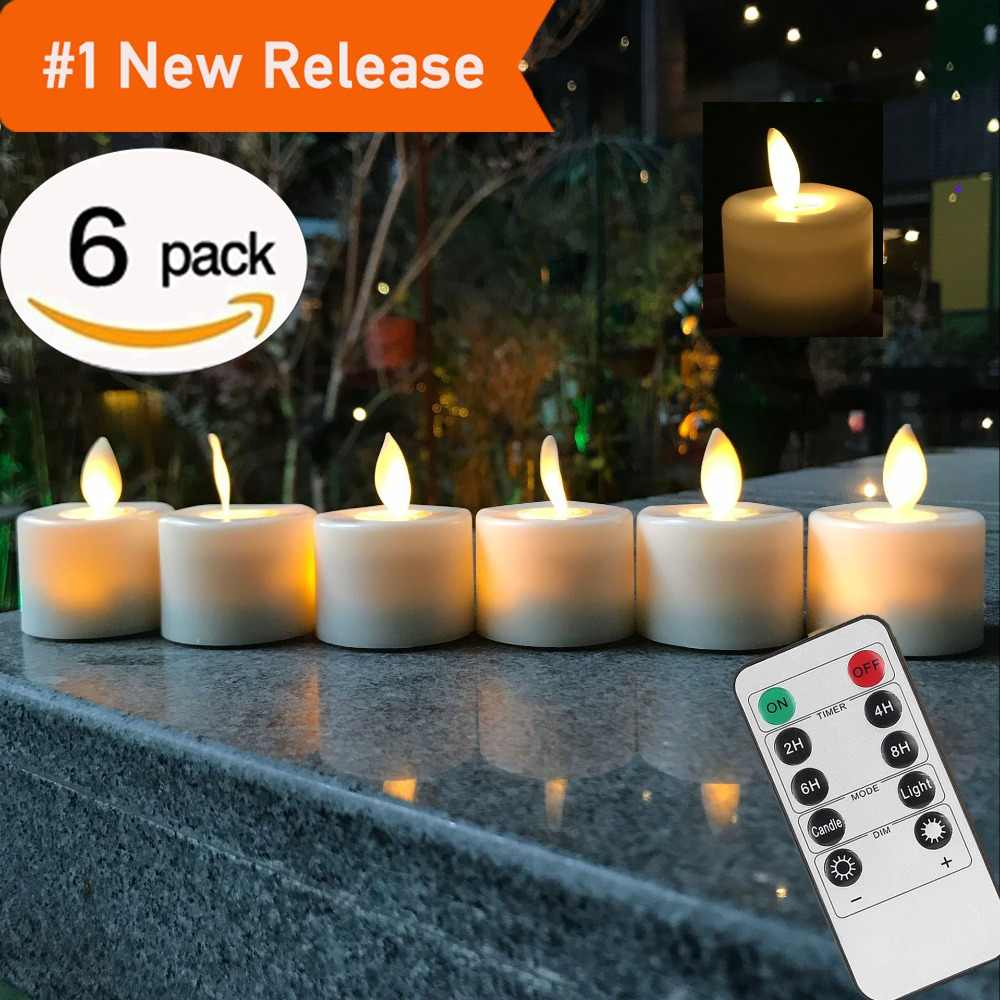 Remote Control LED Candles Pack Of 6 Warm White Led Flameless Candles Battery Operated Dancing Flame Household Tea Light