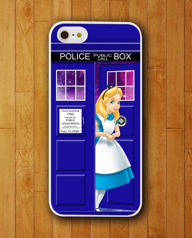 Customized Phone Case Alice in Wonderland and Dr Who Box Tardis Case for iphone 4 4s 5 5s 5c 6 6 plus