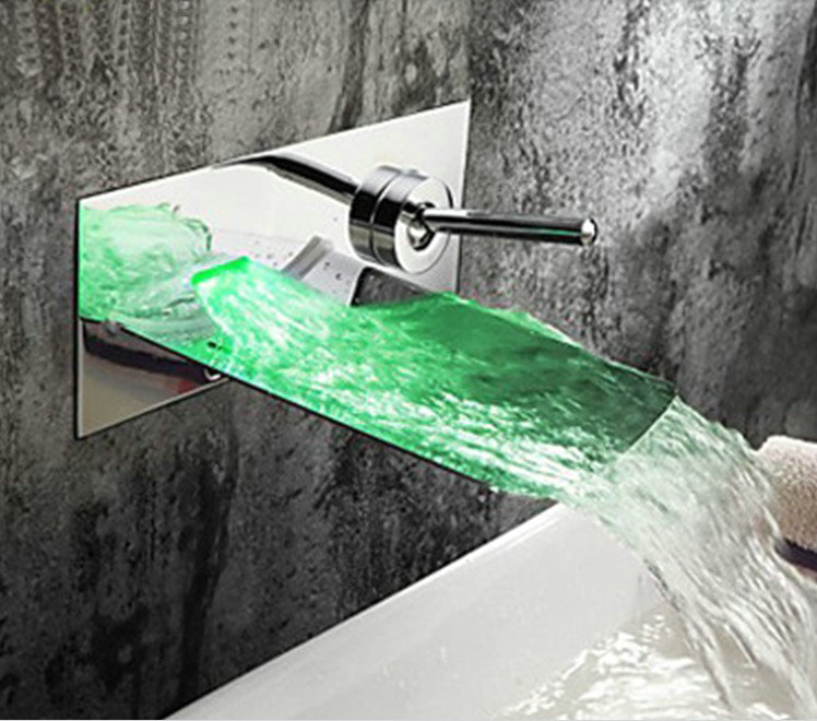 ФОТО  Wholesale And Retail LED Wall Mounted  Waterfall Bathroom Faucet Vanity Vessel Sinks Mixer Tap Cold And Hot Water Tap
