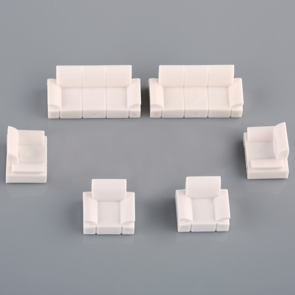 2 Sets 1:50 DollHouse MODEL Plastic Sofa Set Diy Construction Sand Table Landscape Scene