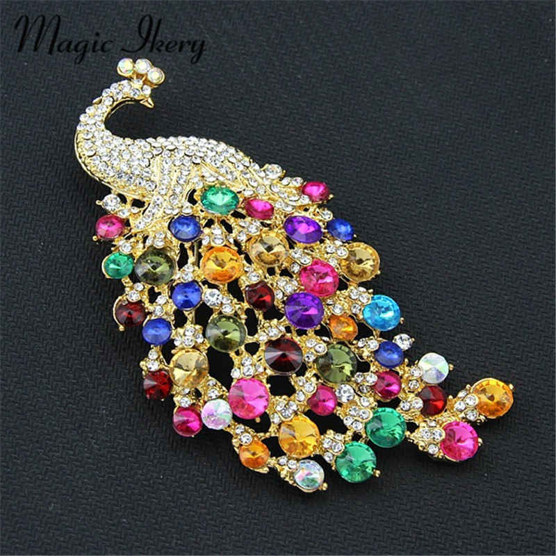 Magic Ikery Large size Colorful Crystal Zircon Peacock Brooch Pin Beautiful Animal Brooch For Elegant Women Holiday Gift MKDR066