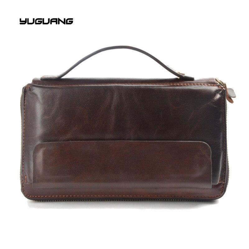 Настоящая кожа Для мужчин Бумажники молния мужской бумажник Для мужчин кошелек мужской моды длинные телефон, кошелек мужской клатч Сумки