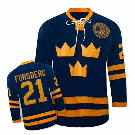 21 PETER FORSBERG Team Sweden Throwback MEN S Hockey Jersey Embroidery  Stitched any number and name b63e4380c