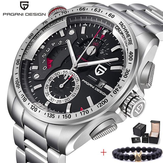 PAGANI עיצוב 2020 חדש למעלה קוורץ שעונים גברים ספורט לוח שנה עמיד למים נירוסטה צבאי שעון Relogio masculino