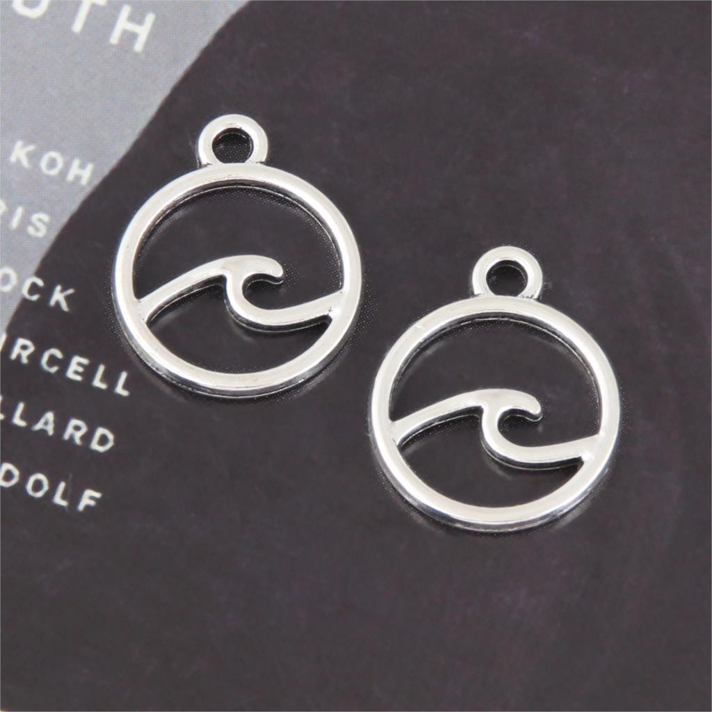 20 шт. серебряный круглый морской Шарм волны, изготовление серфинга кулон на пляж Diy ожерелья Серьги компоненты ювелирные изделия A3259/A2906