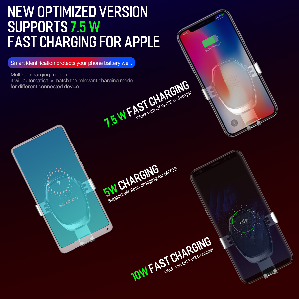 HTB12mi6KaSWBuNjSsrbq6y0mVXaR - 10W QI Wireless Car Charger Gravity Holder , ROCK for iPhone X 8 Plus Samsung Galaxy S8 S7 Note 8 Quick Charge Charging Stand