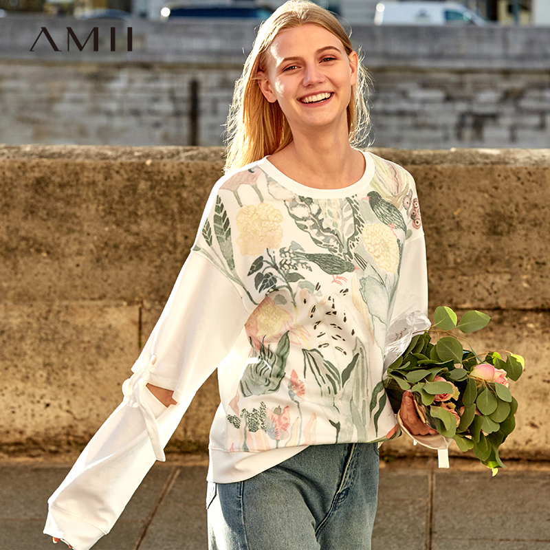 Amii Paresseux O Cou Lâche Shirts Femmes 2019 Printemps Nouvelle Impression Floral À Manches Longues Patchwork Causal Femme Évider Tops