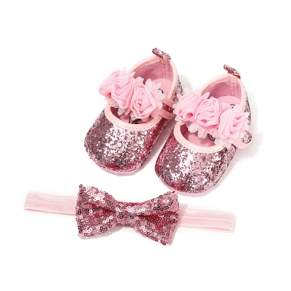 2018 New 2pcs/set Sequin Bow Elastic Hairband + Baby Girl Shoes Toddler Sequin Shoes Baby Girl Moccasins Toddler First Walkers