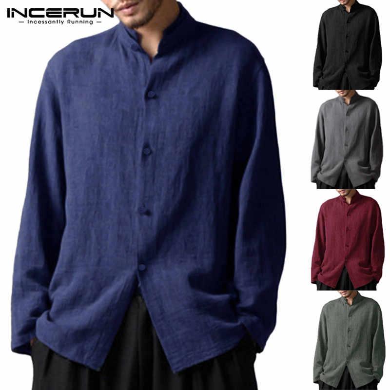 2020 incerun 中国メンズシャツ長袖スタンド綿シャツヴィンテージシャツ 5XL 社会服カミーサ masculina