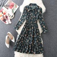 Women S Chiffon Floral Printed Dress 2018 Street Fashion Vintage Bowknot Collar Dresses Boho Elastic Waist