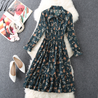 Women S Chiffon Floral Printed Dress 2018 Street Fashion Vintage Bowknot Collar Dresses Boho Elastic Waist