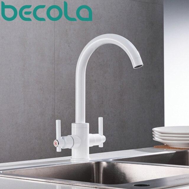 US $48.58 15% OFF|Becola neue design swivel auslauf küche wasserhahn mode  schwarz weiß chrom stil waschbecken mischbatterie gebürstet nickel B 3069  ...