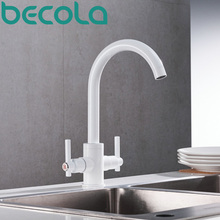 becola new design swivel spout kitchen faucet fashion black white chrome style sink mixer tap brushed