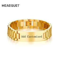 Meaeguet Customized Engraving Laser Chain Link ID Bracelet & Bangle Trending 15.5mm Stainless Steel Name Pulseras Accessories