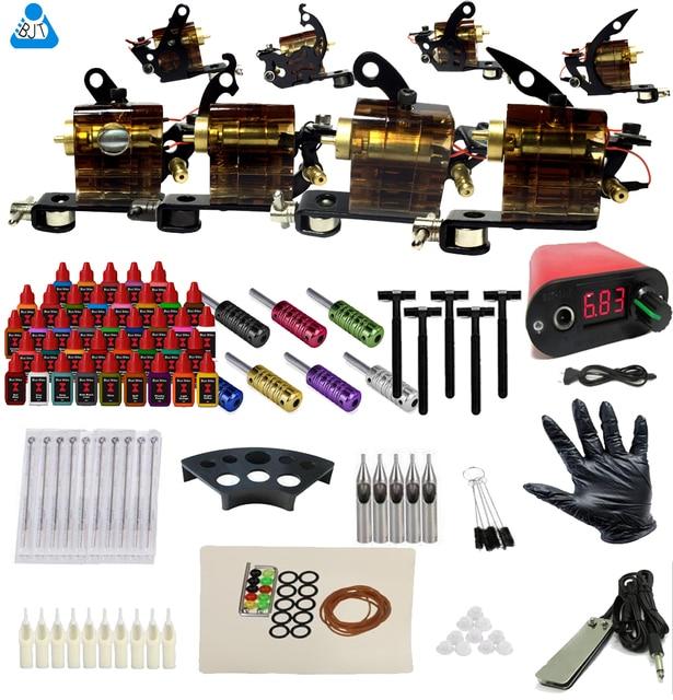 Complete Tattoo Kit 4 Rotary Tattoo Machine 40 Color Inks 50 Needles Tattoo Power Supply Set Tattoo Rotary Gun supplies