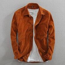Camisa de pana de manga larga de algodón para hombre, camisa de marca de moda de estilo japonés Vintage, Color sólido, informal