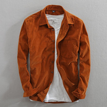 Men Spring And Autumn Fashion Brand Japan Style Vintage Solid Color Corduroy Shirt Male Casual Thin Cotton Long Sleeve Shirts