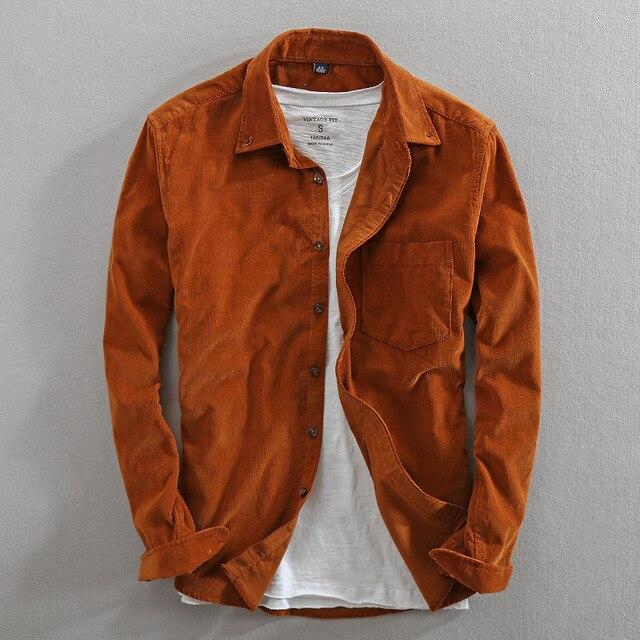 Primavera e outono marca de moda estilo japão vintage cor sólida veludo camisa masculina casual fino algodão manga comprida camisas