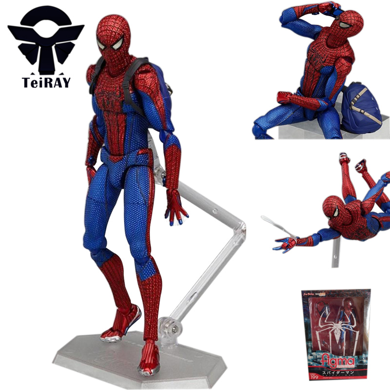 Anime Marvel figma 199 Spiderman figures the amazing spiderman mini pvc action figure toys doll juguetes free shipping 16cm  free shipping 6 spider man the amazing spiderman boxed 15cm pvc action figure collection model doll toy gift figma 199