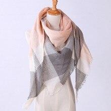 Зимний треугольный шарф для женщин, брендовая дизайнерская шаль, кашемировые клетчатые шарфы, теплые мягкие женские шарфы#5