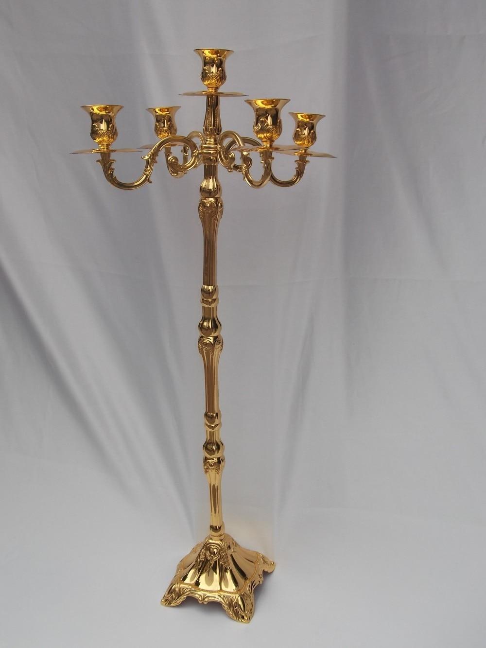 Nouvelle arrivée 83cm brillant doré candélabre pièce maîtresse, - Décor à la maison - Photo 6