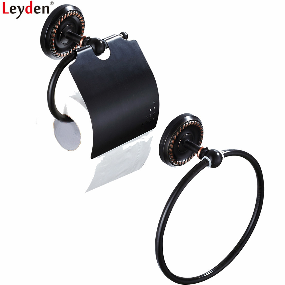 Leyden Oil Rubbed Bronze Brass Wall Mounted European Style Bathroom Accessories Set Black Towel Ring Toilet Paper Holder Sets leyden luxury brass bathroom accessories towel bar towel ring toilet paper holder wall mounted crystal bathroom accessories gold