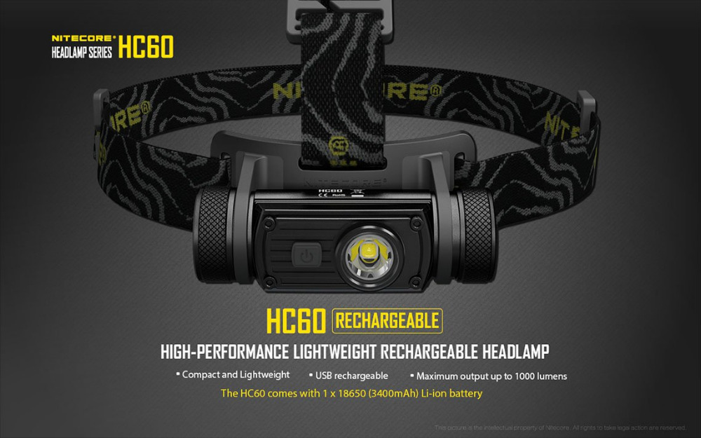 New Arrival HC60W Headlamp Waterproof Flashlight CREE XM-L2 U2 1000 Lumen Headlight Torch For Camping Travel Not Battery nitecore hc60 hc60w headlamp cree xm l2 u2 1000 lumen headlight waterproof led flashlight torch for camping travel