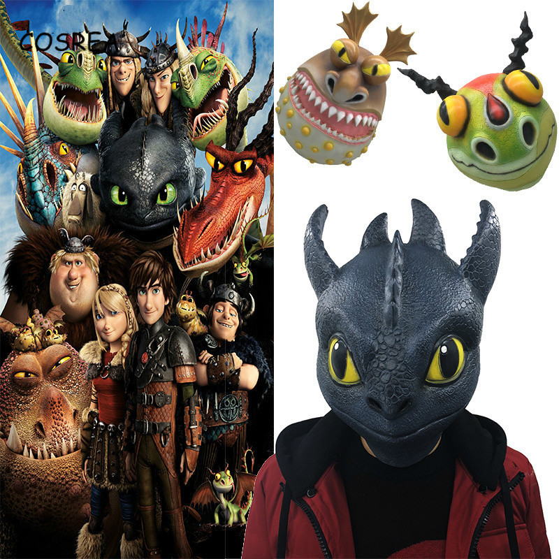 How To Train Your Dragon Cosplay Mask Night Fury Toothless Gronckle Terrible Terror Full Head Halloween Latex Masks Adult Men