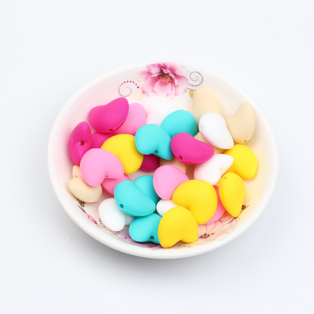 TYRY.HU 10 pieces LOVE Heart Shaped Silicone Beads Teething Baby Teether DIY Pacifier Chain Food Grade Silicone  BPA Free