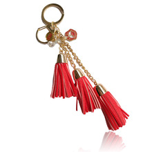 Fashion casual PU leather tassels women keychain bag pendant  DST  Sorority tassel car keychain ring holder  jewelry
