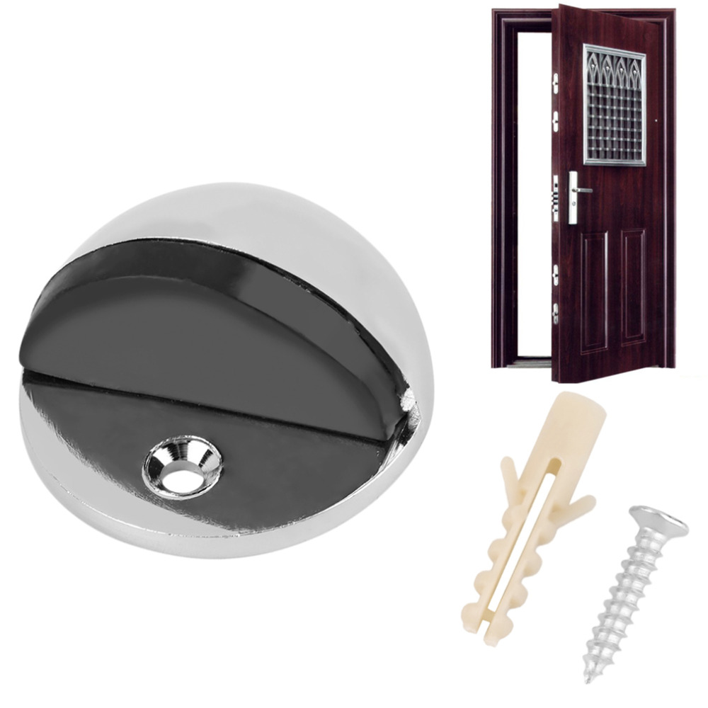 1pc New APS Zinc alloy Satin Chrome Half Moon Door Stopper Wood Door Holder 44mm Dia Casting Floor-mounted Door Stops 3d wood floor door waterproof extra long shower curtain