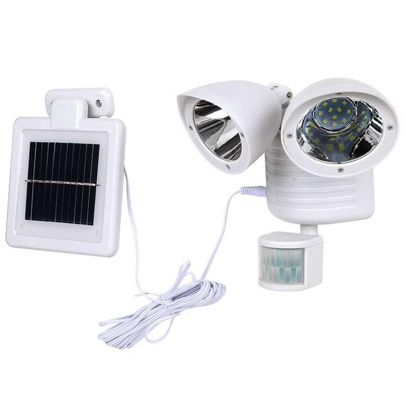 22 светодиодный двойной детектор безопасности споты на солнечной энергии PIR датчик движения Rotable две головки водонепроницаемые лампы для наружного прожектора