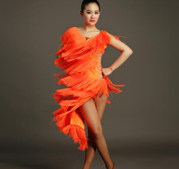 Tassel latin Rumba cha cha salsa tango dance dress S-XXL orange yellow gb017 a16568887048