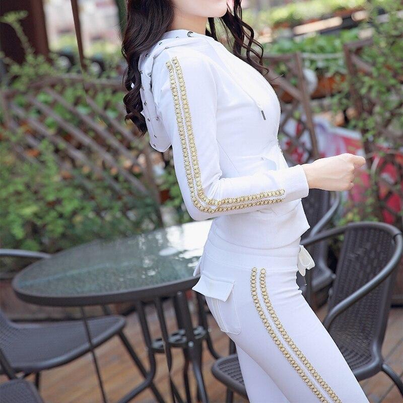 Pantalones Traje Zipper Raya Dos Vertical Mujeres Moda Blanco Las Caliente De Otoño Nuevo Ocio Algodón Conjuntos 2 2018 negro Perforación Hoodie C86fqwdd
