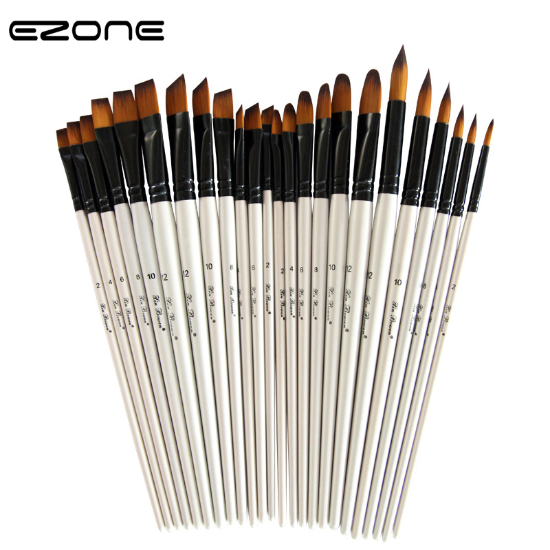 EZONE 6PCS Paint Brush Design Of Flat/Round/Slant/Hook Line Brushes For Watercolor Oil Gouache Painting School Office Supply