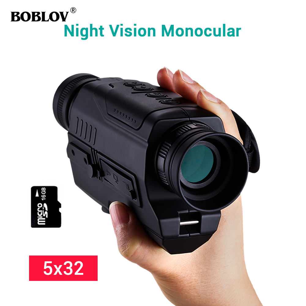 Image 2 - BOBLOV PJ2 5x32 Digital Infrared Night Vision Goggle Monocular 200m Range Free 16GB DVR for Hunting Telescope Military Tactical-in Night Visions from Sports & Entertainment