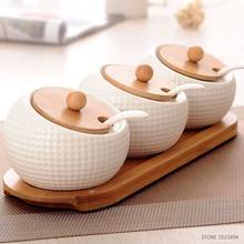 Quality Seasoning Rack Spice Pots Kitchen White Ceramic Seasoning Box Storage Container Condiment Jars Cruet Set of 3Pcs