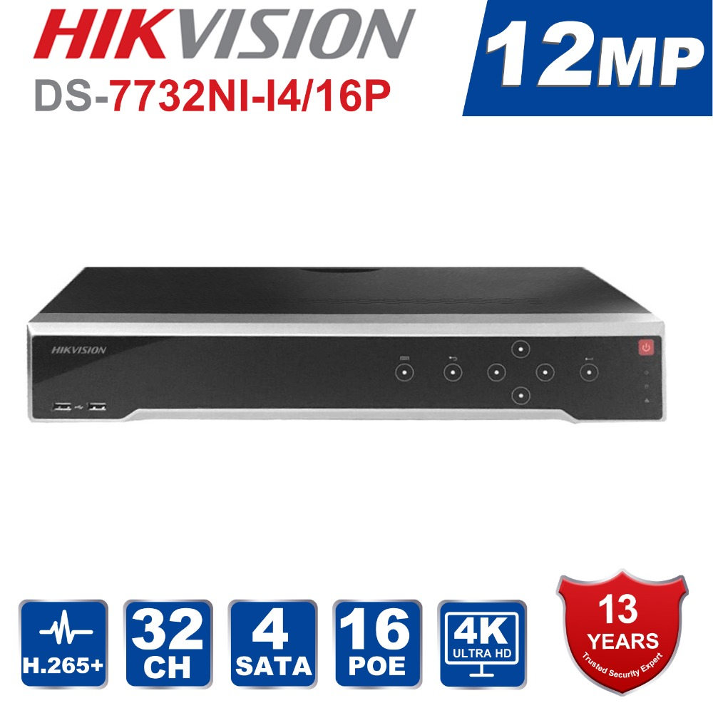 HIK Original English DS 7732NI I4/16P Video recorders 32 Channel ALARM NVR with 4 SATA and 16 POE HDMI up to 4K 16 camera NVR