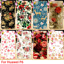 Colorful Rose Peony Flowers Cell Phone Hard Case For Huawei Ascend P6 Back Cover Skin Protective